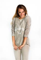 MADE IN ITALY BROWN JULIET LACE SLEEVE TOP