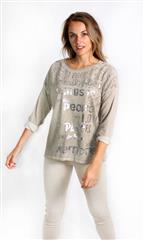 MADE IN ITALY BROWN LACE INSERT TOP WITH METALLIC WRITING