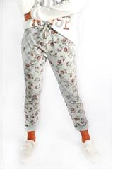 MADE IN ITALY GREY MULTI ROSE PATTERN PANTS