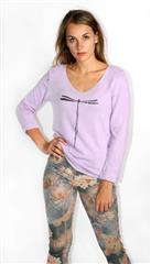 MADE IN ITALY PURPLE DRAGONFLY KNIT TOP