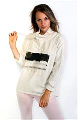 MADE IN ITALY BEIGE DRAWSTRING ATHLEISURE TOP