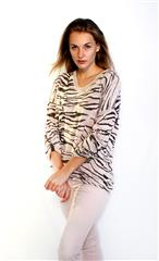 MADE IN ITALY PINK MULTI TIGER PRINT TOP