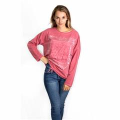 MADE IN ITALY RED LACE PATCH DETAIL METALLIC PRINT TOP