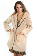 MADE IN ITALY BEIGE FAUX FUR HOODED JACKET