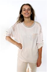 MADE IN ITALY PINK LACE DETAIL TOP