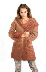 MADE IN ITALY BROWN FAUX FUR HOODED JACKET