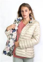 MADE IN ITALY BEIGE FLORAL REVERSIBLE PUFFER JACKET