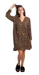 MADE IN ITALY BEIGE LEOPARD PRINT FLARE DRESS
