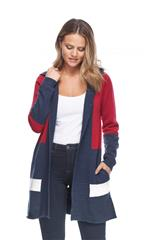 FRENCH DRESSING JEANS NAVY COLOUR BLOCK HOODIE