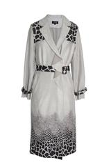 JOLIE GREY PRINTED FAUX SUEDE TRENCH COAT