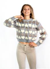 TOP VOGUE GREY HEART CROPPED JERSEY