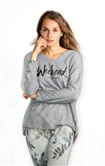 MADE IN ITALY GREY OVERSIZED WEEKEND PRINT TOP