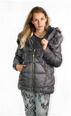 MADE IN ITALY CHARCOAL HOODED PUFFER JACKET