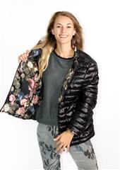 MADE IN ITALY BLACK FLORAL REVERSIBLE PUFFER JACKET