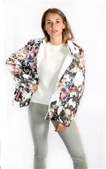 MADE IN ITALY WHITE FLORAL REVERSIBLE PUFFER JACKET