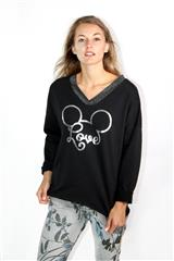 MADE IN ITALY BLACK MICKEY LOVE TOP