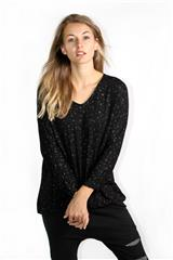 MADE IN ITALY BLACK GOLD FOIL PRINT TOP