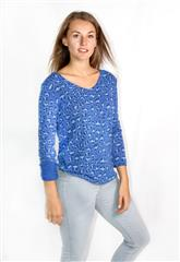 MADE IN ITALY BLUE ANIMAL PRINT TOP