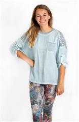 MADE IN ITALY LIGHT BLUE LACE DETAIL TOP