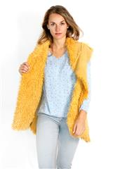 MADE IN ITALY MUSTARD FAUX FUR SLEEVELESS JACKET