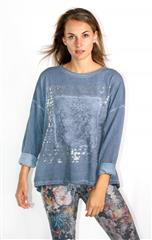 MADE IN ITALY BLUE LACE PATCH DETAIL METALLIC PRINT TOP