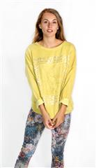 MADE IN ITALY MUSTARD LACE PATCH DETAIL METALLIC PRINT TOP
