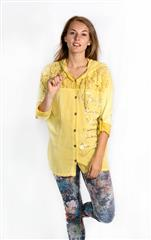 MADE IN ITALY MUSTARD TOP WITH LACE CUT OUT AND HOODIE