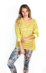 MADE IN ITALY MUSTARD STRIPE DETAIL TOP