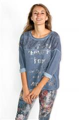 MADE IN ITALY BLUE LACE INSERT TOP WITH METALLIC WRITING