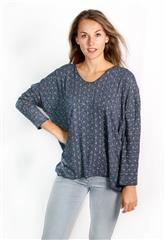 MADE IN ITALY NAVY GOLD FOIL PRINT TOP