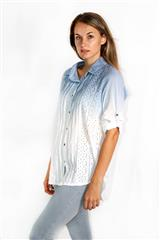 MADE IN ITALY BLUE WHITE LACE CUT OUT BLOUSE