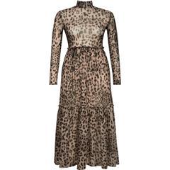 NU LEOPARD PRINT BLAKE MESH DRESS