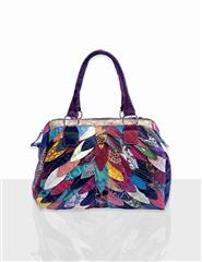 JOLIE LEATHER MULTI COLOUR FEATHER PATCH HANDBAG