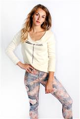 MADE IN ITALY BEIGE DRAGONFLY KNIT TOP