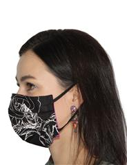 ROSELLA BLACK & WHITE FLORAL REVERSIBLE MASK