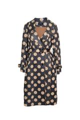JOLIE TAN SPOTTED FAUX SUEDE TRENCH COAT