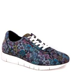 HUSH PUPPIES BLUE SNAZZY VIENNA CRACKLE LEATHER SNEAKER