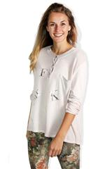 MADE IN ITALY SOFT PINK TEXT PRINT TOP