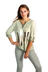 MADE IN ITALY GREEN LEOPARD STRIPE TOP
