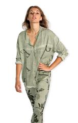 MADE IN ITALY OLIVE TEXT BLOUSE
