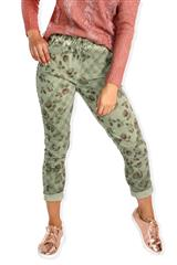 MADE IN ITALY GREEN MULTI ROSE PATTERN PANTS