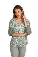 MADE IN ITALY KHAKI LEOPARD SPOT TOP