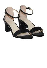 JOLIE BLACK GLITTER CLOSED BACK BLOCK HEEL