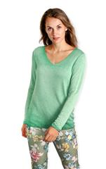 MADE IN ITALY GREEN FADED LONG SLEEVED TOP