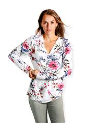 MADE IN ITALY WHITE FLORAL LONG SLEEVE TOP