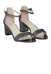 JOLIE EVENING SANDAL CLOSED BACK BLOCK HEEL - PEWTER GLITTER