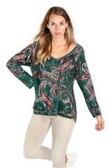 MADE IN ITALY GREEN PAISLEY PRINT ONG SLEEVE TOP