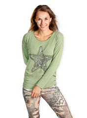 MADE IN ITALY GREEN GLITTER STAR TOP