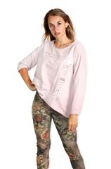 MADE IN ITALY PINK LACE PATCH DETAIL METALLIC PRINT TOP