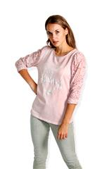 MADE IN ITALY PINK JULIET LACE SLEEVE TOP